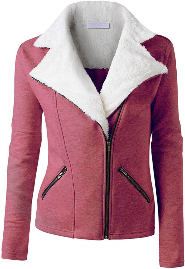 Berry Wool White Fur Women's Zip Up Jacket