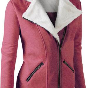 Berry Wool White Fur Women's Zip Up Jacket