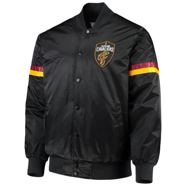 Black Cleveland Cavaliers The Champ Varsity Satin Jacket