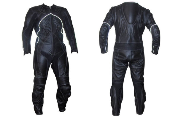 Black Flasher Motorcycle Racing Leather Suit