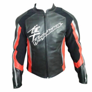 Black Hayabusa Suzuki Motorcycle Leather Jacket