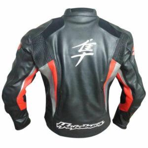 Black Hayabusa Suzuki Motorcycle Leather Jacket