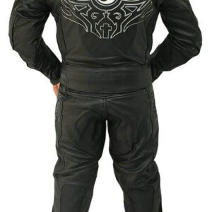 Black Motorcycle Racing Sports Leather Suit