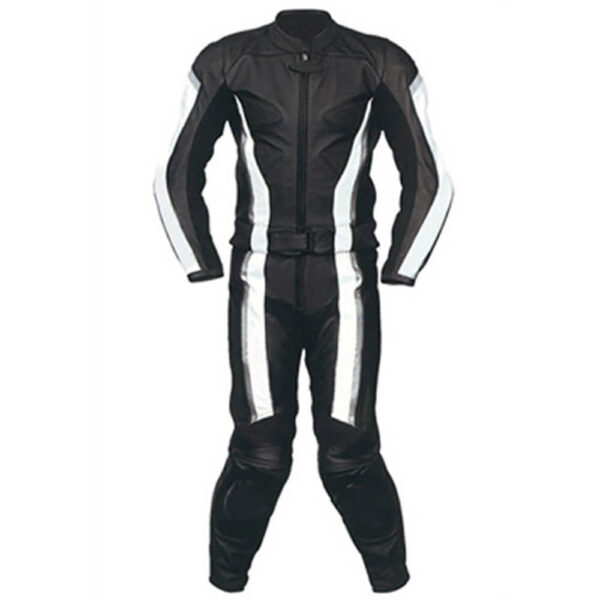 Black Motorcycle Sports Racing Leather Suit