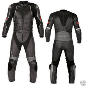 Black Night Rider Motorcycle Racing Leather Suit