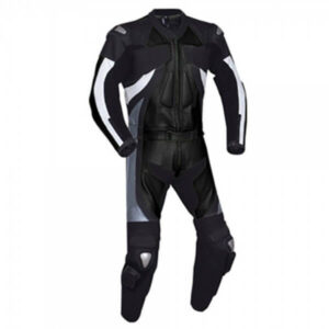 Black & White Motorcycle Racing Leather Suit