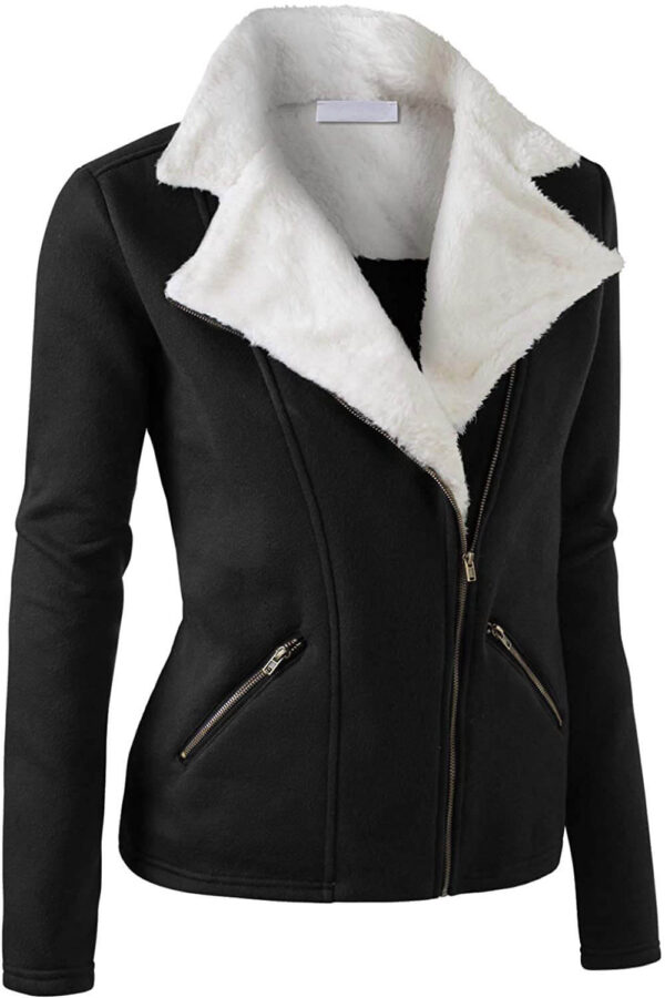 Black Wool White Fur Women's Zip Up Jacket