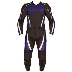 Black and Blue Motorcycle Racing Leather Suit