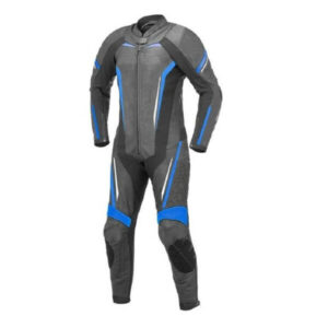 Black and Blue Motorcycle Racing Sports Leather Suit