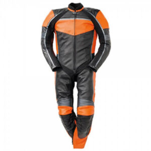 Black and Orange Motorcycle Racing Leather Suit