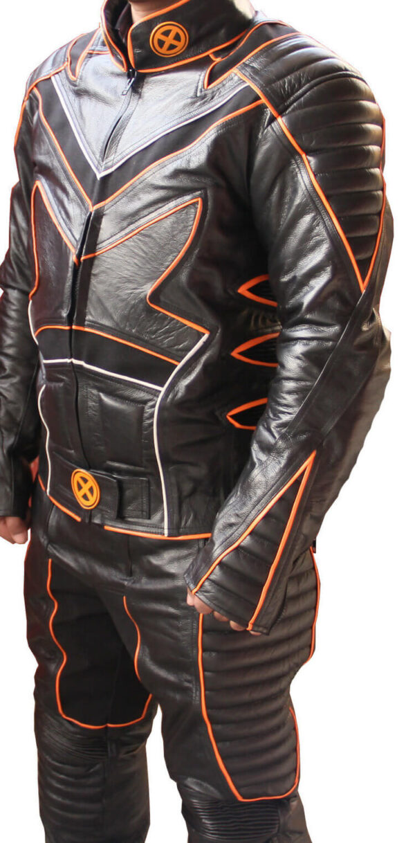 Black and Orange Motorcycle Racing Sports Leather Suit