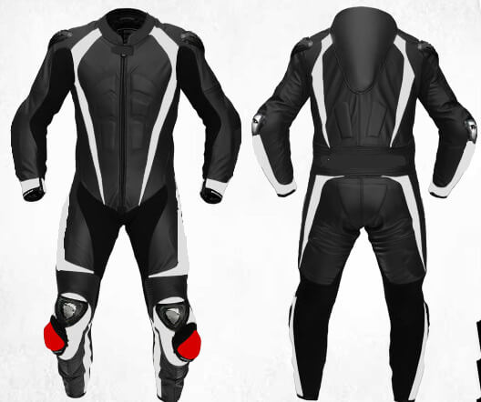 Black and White Motorcycle Men's Racing Leather Suit