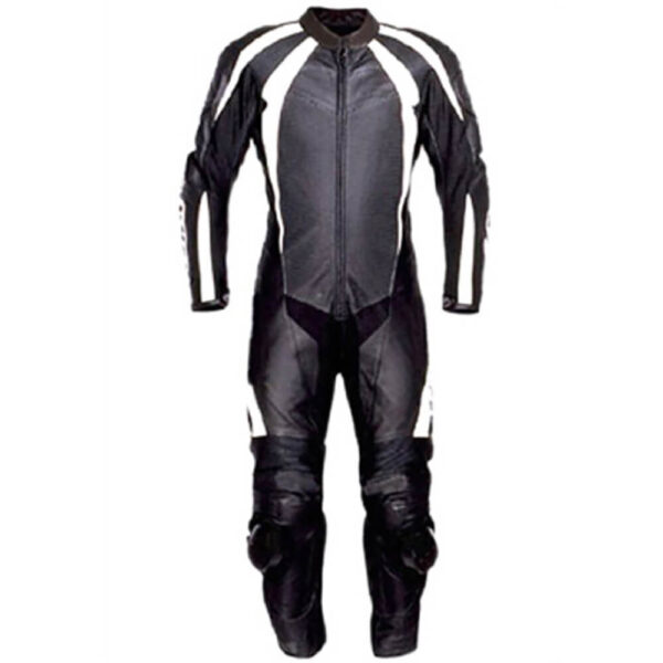 Black and White Motorcycle Sports Racing Leather Suit
