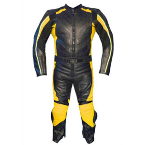 Black and Yellow Motorcycle Sports Racing Leather Suit