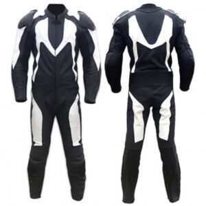 Black&White Motorcycle Racing Leather Suit