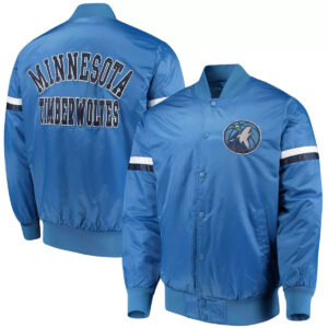Blue Minnesota Timberwolves Varsity Satin Jacket