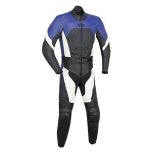 Blue and Black Motorcycle Racing Leather Suit
