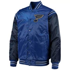 Blue&Navy St. Louis Blues Satin Varsity Jacket
