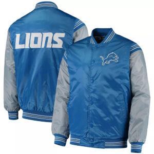 Blue&Silver Detroit Lions Satin Varsity Jacket