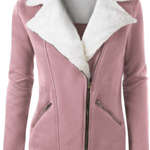 Blush Wool White Fur Women's Zip Up Jacket