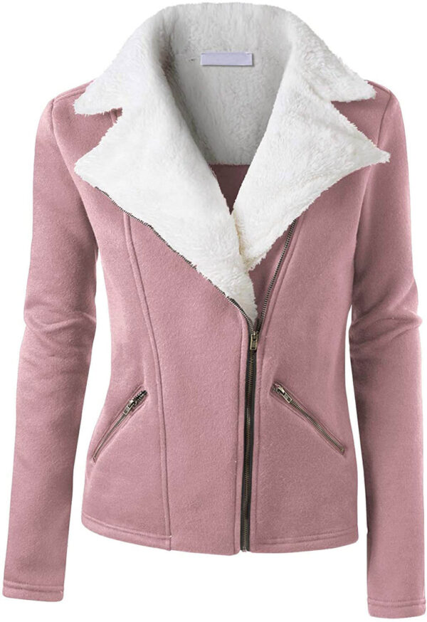 Blush Wool White Fur Women's Zip Up Jacket