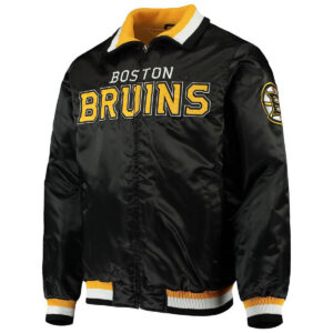 Boston Bruins Captain II Black and Gold Satin Jacket