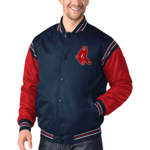 Boston Red Sox Navy&Red Varsity Satin Jacket