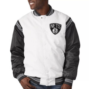 Brooklyn Nets Renegade White and Black Satin Jacket
