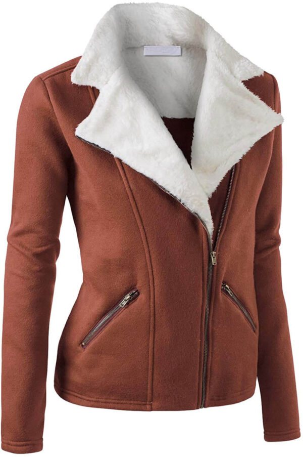 Brown Wool White Fur Women's Zip Up JacketBrown Wool White Fur Women's Zip Up Jacket