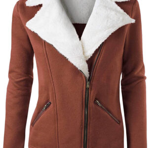 Brown Wool White Fur Women's Zip Up Jacket