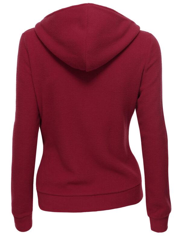 Burgundy Women's Zipper Long Sleeved Wool Jacket