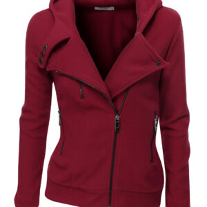 Burgundy Women's Zipper Long Sleeved Wool Jacket