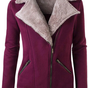 Burgundy Wool Tan Fur Women's Zip Up Jacket