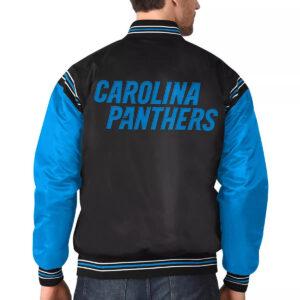 Carolina Panthers Satin Black and Blue Varsity Jacket