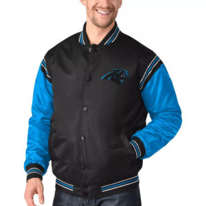 Carolina Panthers Satin Black and Blue Varsity Jacket