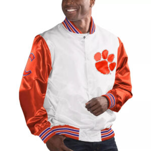 Clemson Tigers White and Orange Cotton Jacket