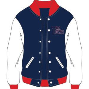 Custom Design Blue And White Varsity Jacket For Women