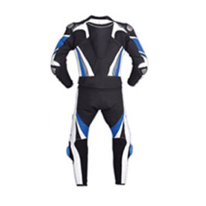 Dark Blue and Black Motorcycle Racing Leather Suit