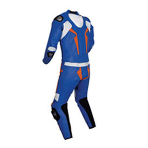 Dark Blue and Orange Motorcycle Racing Leather Suit
