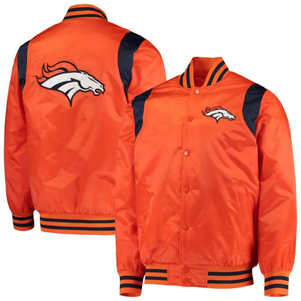Denver Broncos Prime Time Twill Satin Varsity Jacket