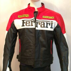 Ferrari Black And Red Motorcycle Leather Jacket