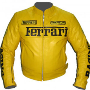 Ferrari Yellow Motorcycle Racing Leather Jacket