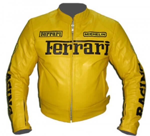 Ferrari Yellow Motorcycle Racing Leather Jacket