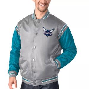 Gray&Teal Charlotte Hornets Varsity Satin Jacket