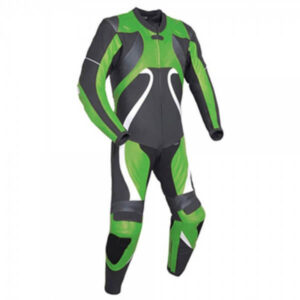 Green & Black Motorcycle Racing Leather Suit