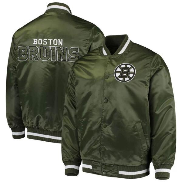 Green Boston Bruins Satin Jacket