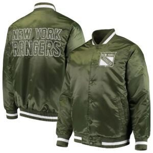 Green New York Rangers Satin Jacket