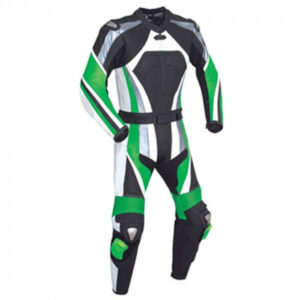 Green and Black Motorcycle Racing Leather Suit