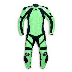 Green and Black Motorcycle Sports Racing Leather Suit