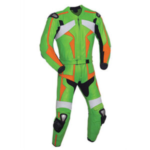 Green and Orange Motorcycle Racing Leather Suit